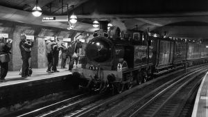 A steam train which carried passengers in the 19th Century has returned to the Great Portland Street tube station on a journey to mark 150 years since the first London Underground journey.(wikipedia)
